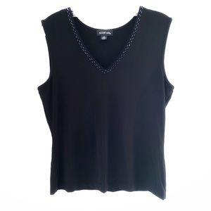 AUGUST MAX Black beaded sleeveless top